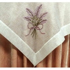 CREAM ORGANZA TABLE RUNNER WITH HAND BEADED LAVENDER BEADS