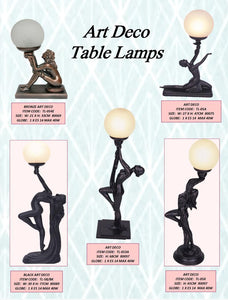 ART DECO - TABLE LEADLIGHT LAMPS