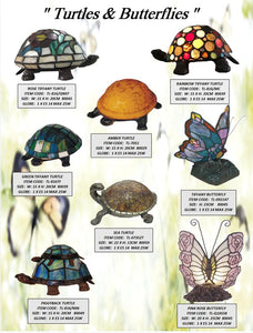 TURTLES & BUTTERFLIES - TABLE LEADLIGHT LAMPS