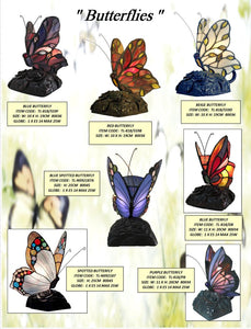 BUTTERFLIES - TABLE LEADLIGHT LAMPS
