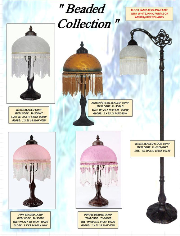 BEADED COLLECTION- TABLE LEADLIGHT LAMPS