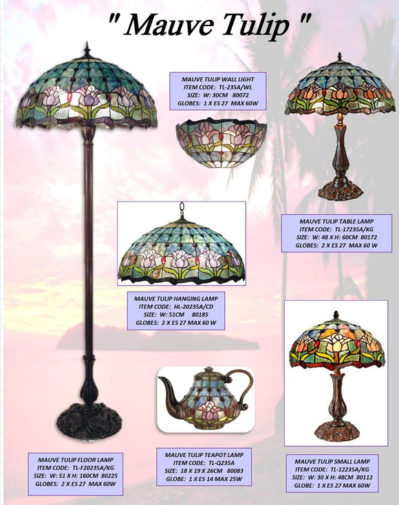 MAUVE TULIP - LEADLIGHT LAMPS