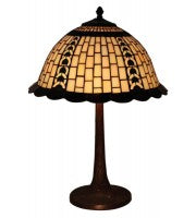 "16"" cream geometric with copper filigree pattern table lamp."