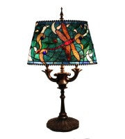 "16"" oval shade dragonfly lamp."