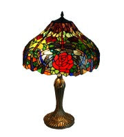 "16"" dragonfly table lamp, three dragonfly around red rose."