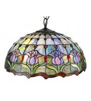 "20"" pink tulip with blue background pendant lamp, 3 x lights."