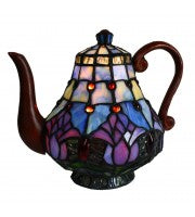 Leadlight tulip teapot lamp