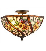 "16"" leadlight  multi-colour hexahedral floral semi-flush to ceiling lamp."