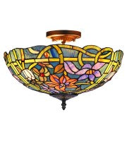 "16"" Leadlight multi-colour butterfly semi-flush to ceiling lamp."