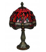 "8"" Red dragonfly table lamp."