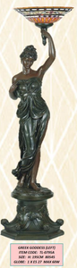 LARGE DECO FLOOR LAMP - GREEK GODDESS (L) -  #special transport needed very heavy