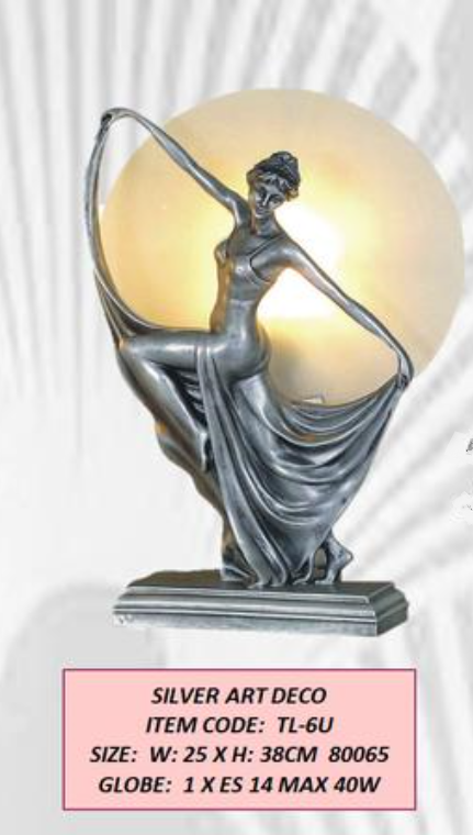 SILVER FINISH ART DECO DANCING LADY TABLE LAMP
