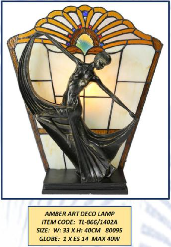 AMBER ART DECO LAMP