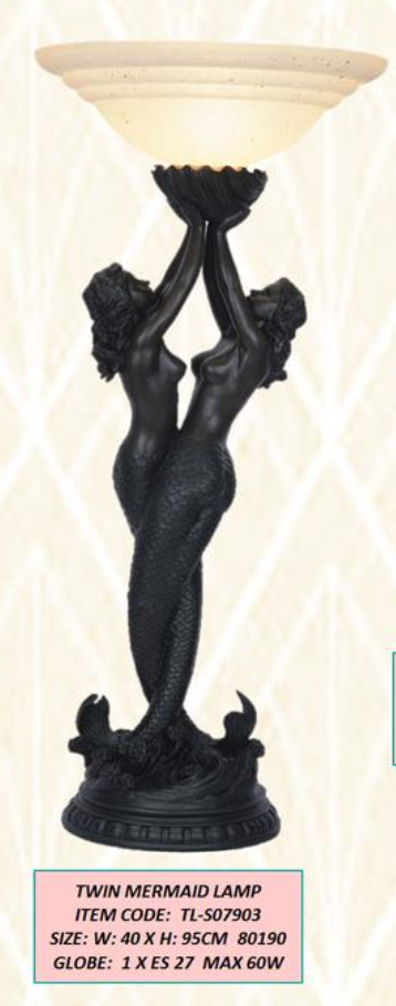 ART DECO TWIN MERMAID LAMP.