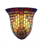 Geometric multi-colour wall sconce.
