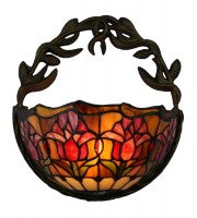 Leadlight red tulip wall lamp Metal frame.
