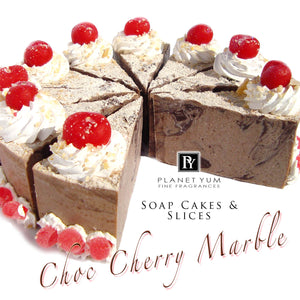 a slice - Choc Cherry Marble Goat's Milk Soap Cake (slice only, full cake on request)