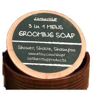 zz  Men's Grooming 3in1 Soap. Natural, Organic & Handmade. Shampoo, Shave n Shower.
