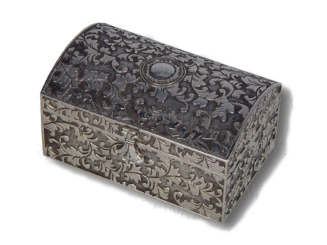 JEWELLERY BOX-MINI TRUNK-SILVER. JEWELLERY BOX-MINI TRUNK-SILVER