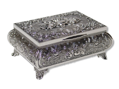 JEWELLERY BOX-HEIRLOOM-FOOTED ROSE