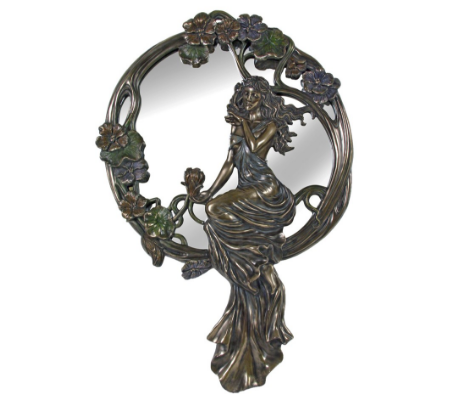 WALL MIRROR - LADY SITTING ON RATTAN
