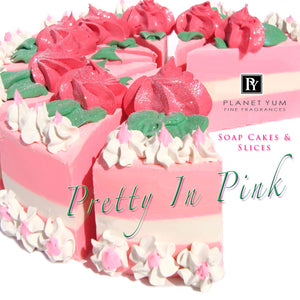 a slice - Pretty In Pink Goat's Milk Soap Cake Slices (slice only, full cake on request)