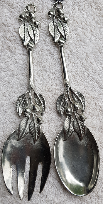 WS Handmade Silver Pewter Salad Servers