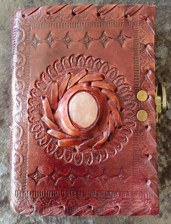 Small - Leather Cover Journals - LD-21 -SIDE CLIP WITH STONE