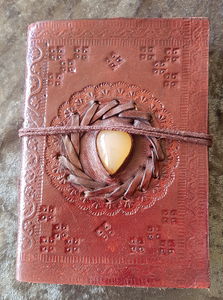 Small - Leather Cover Journals – LD-002 DRAW STRING TIE WITH STONE