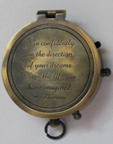 Small brass compass with locking mechanism, Thoreau Poem on lid