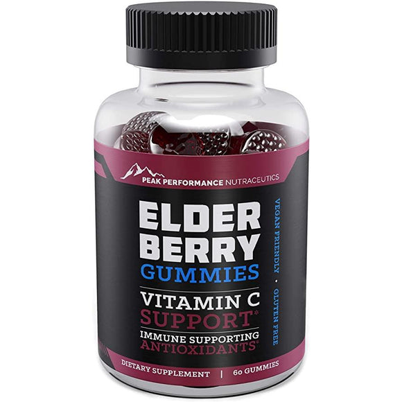 Elderberry Gummies Supplement with Vitamin C | PEAK PERFORMANCE | Any Body Supplements