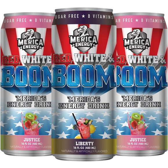 RED WHITE AND BOOM ENERGY DRINKS