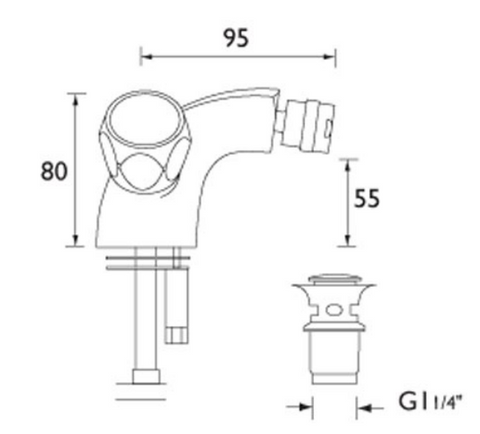 Astra mono bidet mixer with pop up waste, LP 0.2 [3613]