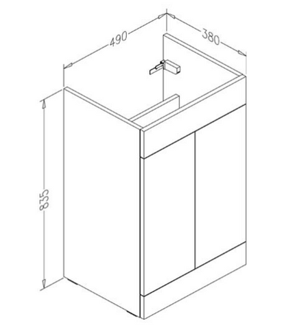 Bathroom  floor standing unit with two doors [PFS502GR + P500BS]