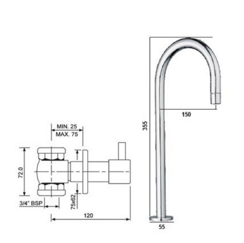 Florence Concealed Stop Valves with Deck Mounted Basin Spout [50893]