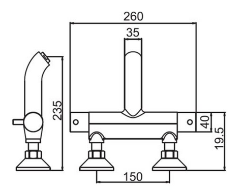 Florence Thermostatic Bath Filler Wall Mounted, HP 1 [15669WM]