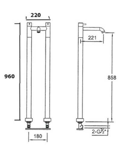 Florence floor mounted bath filler, HP 1 [55578]