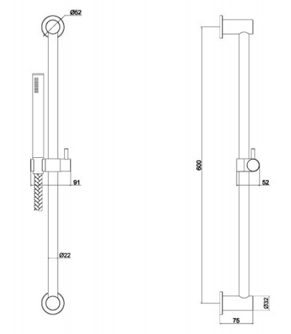 Inox Brushed Stainless Steel Slide Rail With Single Function Hand Shower & Hose 600mm[IX178]