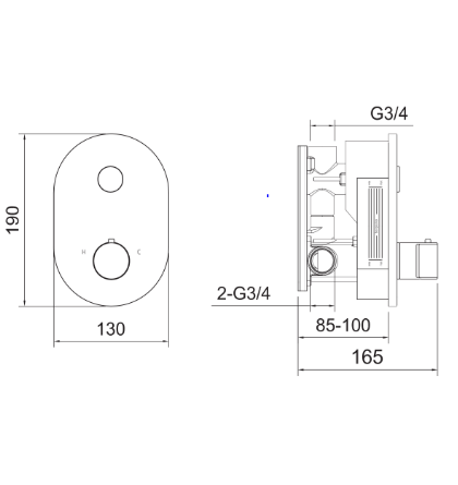 Major 2 Outlet Touch Button Concealed Thermostat Valve [451122]