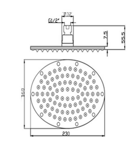 Oval 230mm Overhead Shower [9902]