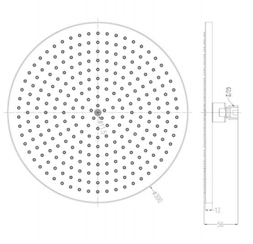 Round Airforce  300mm Overhead Shower [9914]