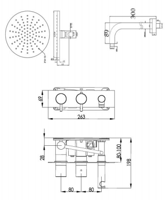 Round Thermostat with Attached Handshower and Overhead [COM035]