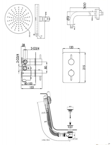 Round Thermostat with Overhead Shower and Bath Filler [COM 046]