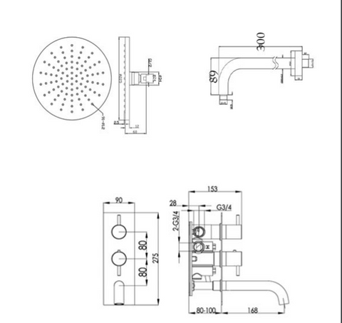 Round Thermostat with Overhead Shower and Fixed Shower Handle [COM049]