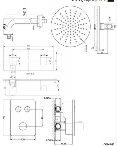 Round Thermostat with Overhead Shower and Fixed Shower Handle [COM 038]