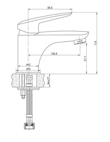 Single Lever Basin Mixer without Pop up Waste, LP 0.2 [JTYE111P]