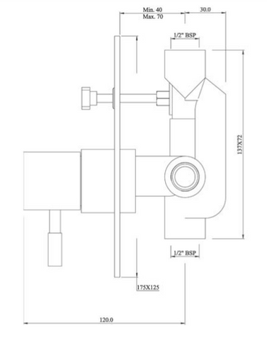 Single lever concealed manual diverter valve, HP 1 [ANG-53065]