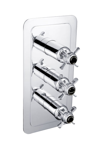 Chester Black Pinch Thermostatic Conceal 3 Outlet Shower Valve  Vertical [GB98691]