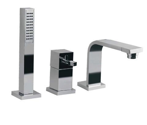Single lever 3-hole bath mixer deck mounted with spout, extractable hand shower and diverter, HP 1 [ANG-53277]