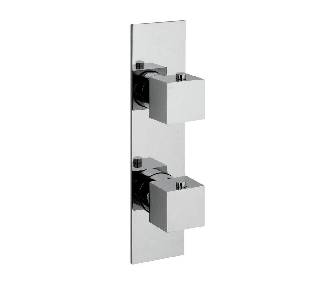 Square slimline thermostatic concealed 1 outlet shower valve vertical